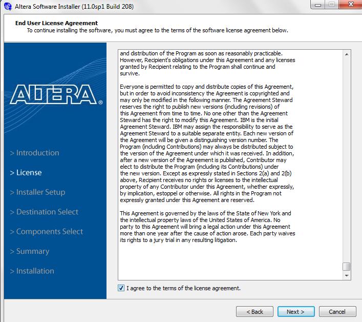 Installing Altera Complete Design Suite v11 (Quartus II) on WIN7
